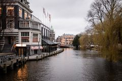 Canals in Amsterdam Netherlands. March 2015. Landscape format royalty free stock photos
