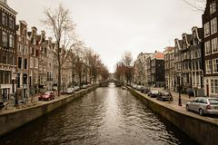 Canals in Amsterdam Netherlands. March 2015. Landscape format stock photo