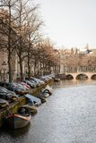 Canals in Amsterdam Netherlands. March 2015. Portrait format stock photo