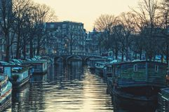 Canals of Amsterdam, Netherlands at twilight Royalty Free Stock Photos