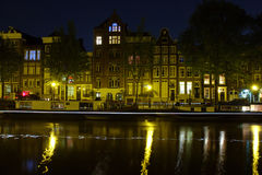 Canals in Amsterdam at night. (photo taken with a long exposure Stock Photo