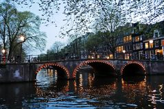 Canals of Amsterdam by night Royalty Free Stock Images