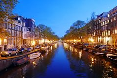 Canals of Amsterdam by night. Canals in Amsterdam at night. The Nederlands Stock Images