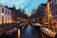 Canals of Amsterdam at night in Netherlands. Amsterdam is the ca Stock Photography