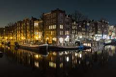 Canals in Amsterdam at Night Stock Photo
