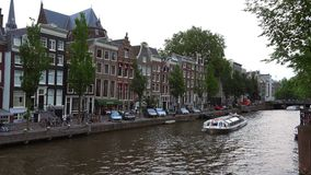 The Canals of Amsterdam typical view  City of Amsterdam. The Canals of Amsterdam typical view  Amsterdam Netherlands videoclip stock footage