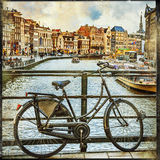 Canals of Amsterdam, vintage picture Stock Photography