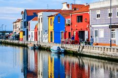 Canals of Aveiro, Portugal. Typical colored houses in the former fishing town of Aveiro. Now it is with its channels a tourist attraction Royalty Free Stock Photos