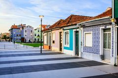 Canals of Aveiro, Portugal. Typical colored houses in the former fishing town of Aveiro. Now it is with its channels a tourist attraction Stock Images