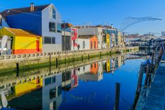 Canals and boats in Aveiro royalty free stock photos