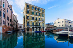 Canals and boats in Cannaregio, Venice Royalty Free Stock Images