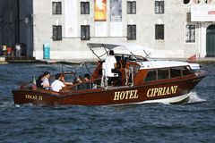 Hotel Cipriani boat in Venice, Italy stock images