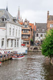 The Canals and brick houses of Bruges in Belgium Flanders Royalty Free Stock Photography