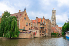 The Canals and brick houses of Bruges in Belgium Flanders Royalty Free Stock Photos