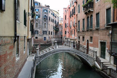 The canals and bridges of Venice. Trip on a gondola in the canals of Venice stock photo