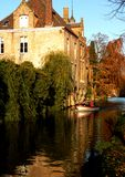 Canals of Bruges. A view on one of the canals of Bruges royalty free stock images