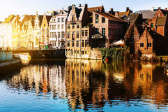 Canals of Bruges, Belgium in the evening Royalty Free Stock Photo