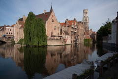 The canals of Bruges in the early morning Stock Photos