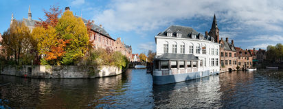 Canals of Bruges. View on the Waterways of Bruges, Belgium Royalty Free Stock Photo