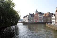 Canals in Brugge. There are many canals in Brugge and it is a good way to get the town, from a different perspective. There is interesting architecture to see in Royalty Free Stock Photo