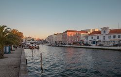 Canals of the city aveiro in colorful sunset Portugal royalty free stock photography