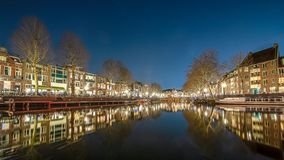 Canals in the city of Utrecht by night stock photo