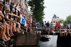 Canals festival. Audience at the bridge watching an open air concert at the canals of Stock Image