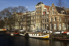 Canals and houseboats in Amsterdam, Holland Stock Photos