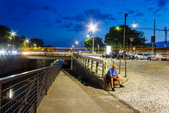 Canals in Milan. Summer night view of the famous Navigli district, in Milan city (Lombardy, Northern Italy), fun area known for the many pubs and nightclubs Royalty Free Stock Photo