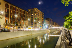 Canals in Milan. Summer night view of the famous Navigli district, in Milan city (Lombardy, Northern Italy), fun area known for the many pubs and nightclubs Royalty Free Stock Photos