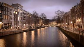 Canals at night in Amsterdam Netherlands. March 2015. Landscape format stock photos