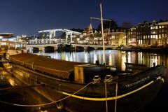 Canals at night in Amsterdam Netherlands. March 2015. Landscape format stock image