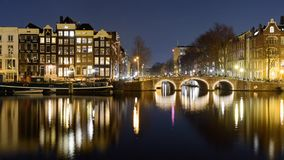 Canals at night in Amsterdam Netherlands. March 2015. Landscape format royalty free stock photos