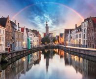Free Canals Of Bruges With Rainbow, Belgium Royalty Free Stock Images - 148939939