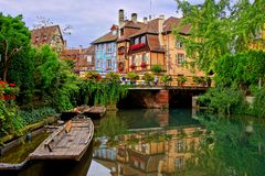 Canals with reflections in Colmar, Alsace, France stock photo