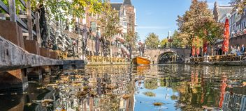 The canals of Utrecht on a sunny autumn afternoon stock image