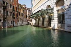 Canals in Venice. Canals view from small balcony in Venice royalty free stock images