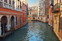 Canals of Venice, Italy. One of the many canals of Venice, deserted in the early morning Royalty Free Stock Images