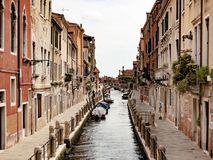 The canals in Venice, Italy. You can walk all around or take a gondola a cross the city of Venice to find incredibles spots stock photography