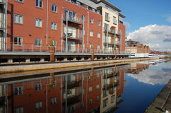 Canalside Apartments. Modern apartment block on the canal Royalty Free Stock Image