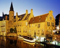 Canalside buildings, Bruges. Royalty Free Stock Photography