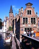 Canalside buildings, Bruges. Royalty Free Stock Image