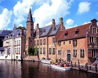 Canalside buildings, Bruges. Royalty Free Stock Photos