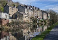Canalside houses,calderdale, Stock Photos