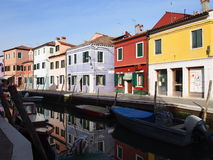 Canalside reflection - Burano Stock Image