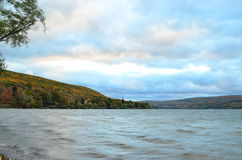 Canandaigua Lake on a cloudy Autumn day. Canandaigua Lake & hills of Finger Lakes area on a cloudy Autumn day stock photos