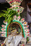 Canang sari in a Penjor pole for Galungan celebration, Bali Island, Indonesia Royalty Free Stock Photo