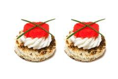 Canapés con el caviar rojo Foto de archivo libre de regalías