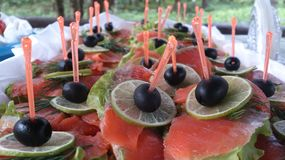 Canapés with fish Stock Photo
