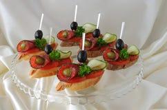 Canapés With Salami Stock Photos